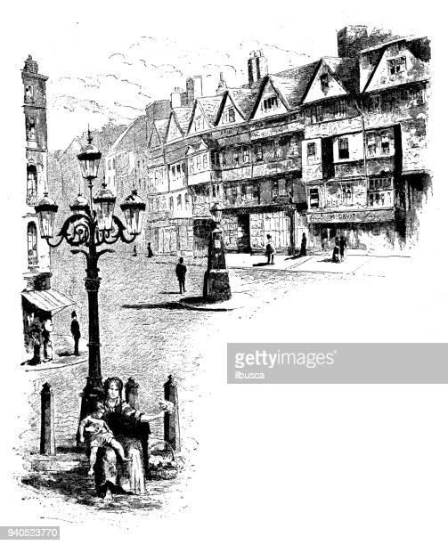 antique illustrations of england, scotland and ireland: holborn - 1900 stock illustrations