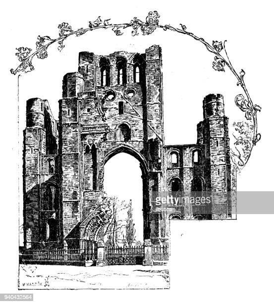 アンティークのイングランド、スコットランド、アイルランドのイラスト: ケルソー修道院 - ケルソー点のイラスト素材/クリップアート素材/マンガ素材/アイコン素材