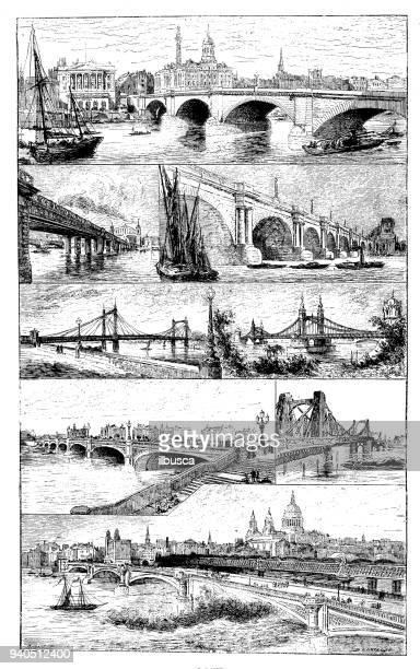 antique illustrations of england, scotland and ireland: london bridges - 1900 1909 stock illustrations