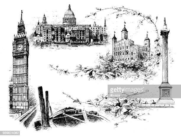 antique illustrations of england, scotland and ireland: london landmarks - 1900 1909 stock illustrations