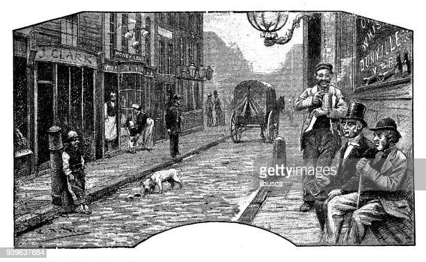 antique illustrations of england, scotland and ireland: london street - 19th century stock illustrations