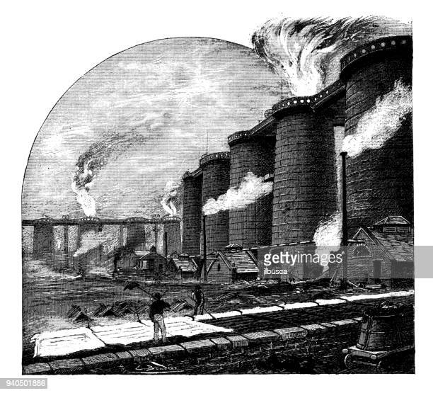 antique illustrations of england, scotland and ireland: middlesbrough furnaces - northeastern england stock illustrations, clip art, cartoons, & icons