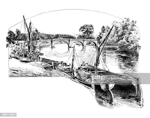 antique illustrations of england, scotland and ireland: richmond bridge - san rafael california stock illustrations