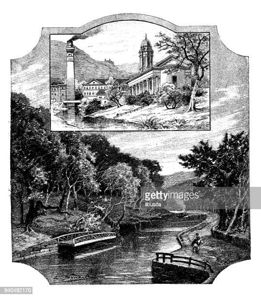 Antique illustrations of England, Scotland and Ireland: Saltaire Park and Church