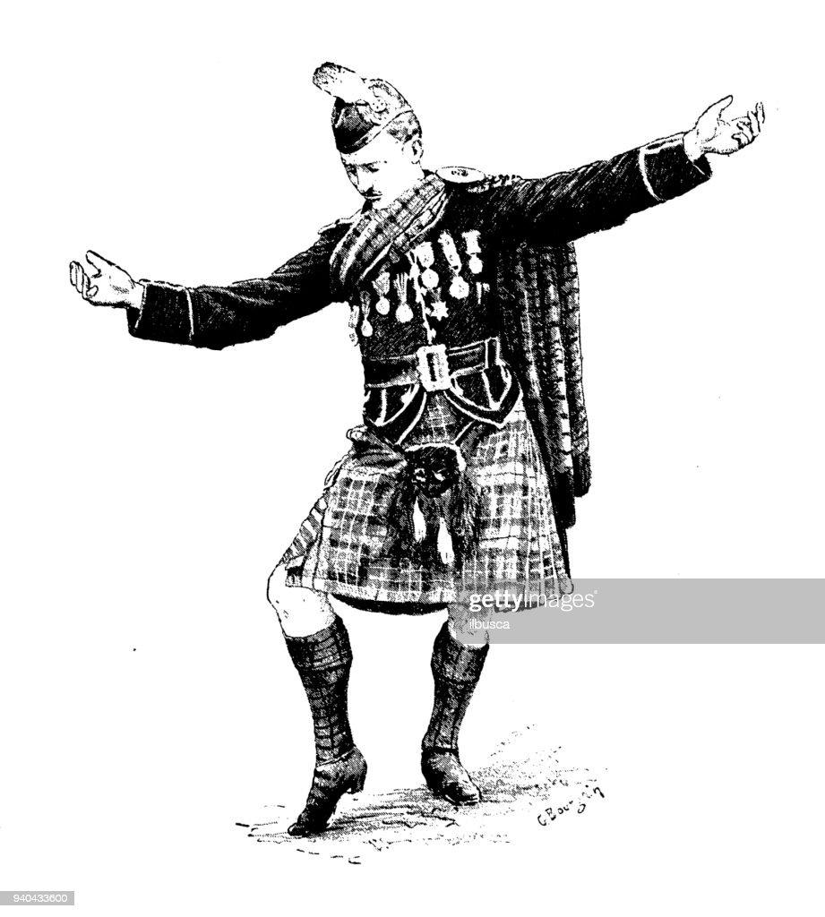 Antique illustrations of England, Scotland and Ireland: Scottish Highlander : stock illustration