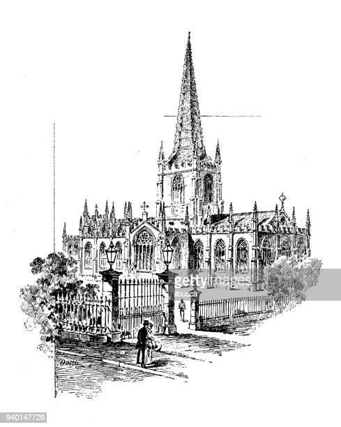 antique illustrations of england, scotland and ireland: sheffield church - sheffield stock illustrations
