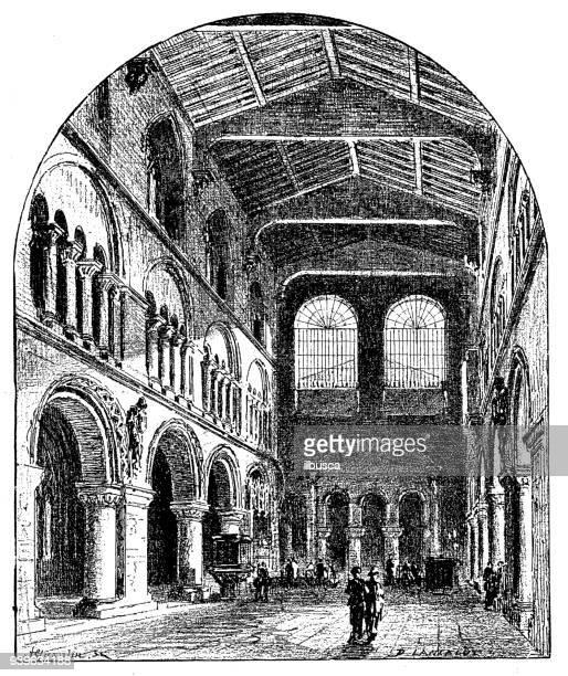 antique illustrations of england, scotland and ireland: st. bartholomew's church - 1900 stock illustrations