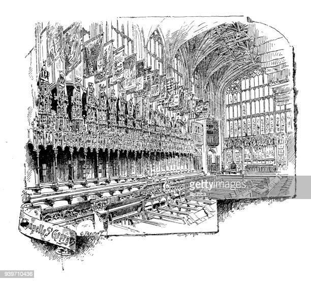antique illustrations of england, scotland and ireland: st george chapel, windsor castle - windsor castle stock illustrations