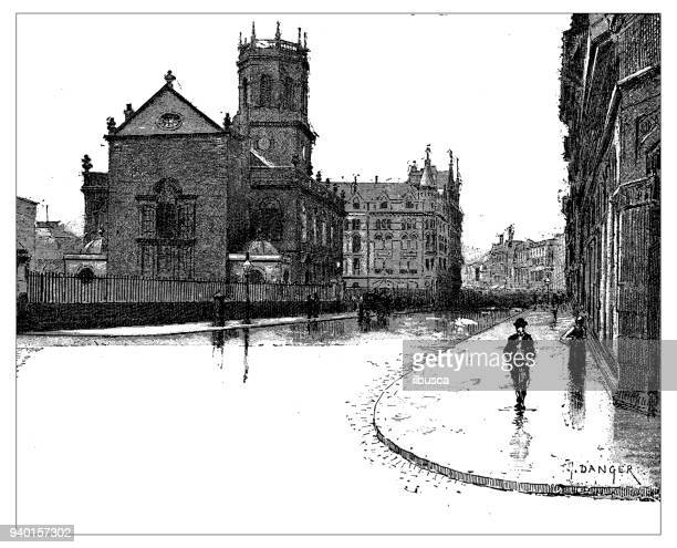 antique illustrations of england, scotland and ireland: st nicholas church, liverpool - st. nicholas cathedral stock illustrations