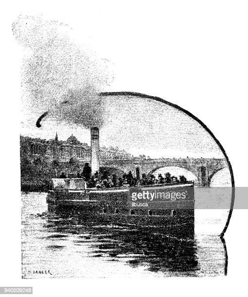アンティークのイングランド、スコットランド、アイルランドのイラスト: スティーム ボート ・ オン ・ テムズ - テムズ川点のイラスト素材/クリップアート素材/マンガ素材/アイコン素材