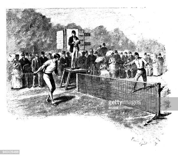 antique illustrations of england, scotland and ireland: tennis - match sport stock illustrations, clip art, cartoons, & icons