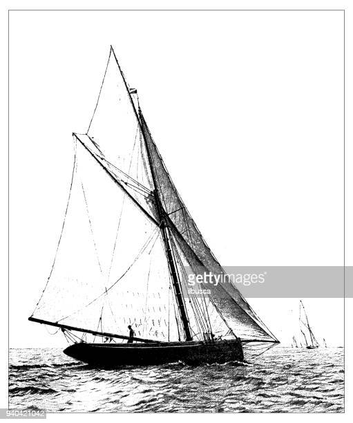 antique illustrations of england, scotland and ireland: yacht - 1900 stock illustrations