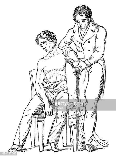 antique injury cure - sick stock illustrations, clip art, cartoons, & icons