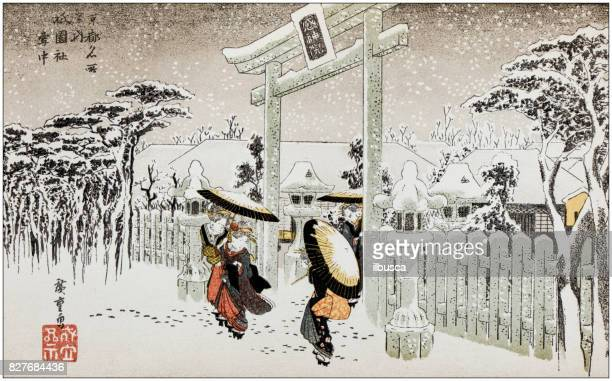 Antique Japanese Illustration: Gate of the Shinto Temple, Shi-En-Sha, Kyoto, in winter by Hiroshige I
