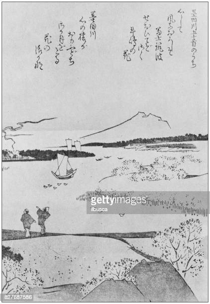 antique japanese illustration: landscape by hokkei - tradition stock illustrations
