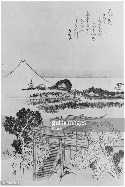 ilustrações, clipart, desenhos animados e ícones de antiga ilustração japonesa: paisagem por hokkei - mt. fuji