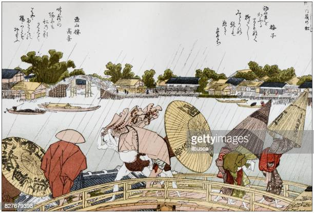 antique japanese illustration: makura bridge over the sumida river by hokusai - tokyo japan stock illustrations, clip art, cartoons, & icons
