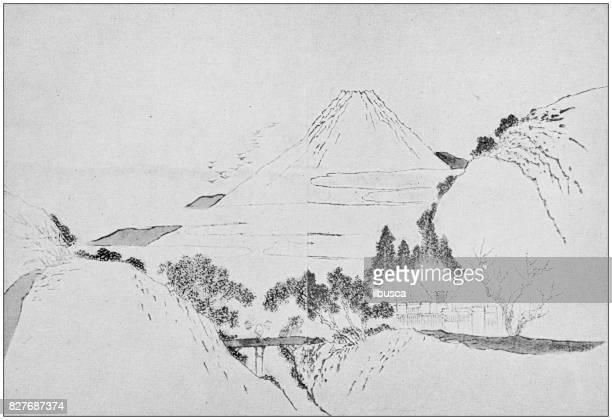 antique japanese illustration: mount fuji by gakutei - volcano stock illustrations, clip art, cartoons, & icons