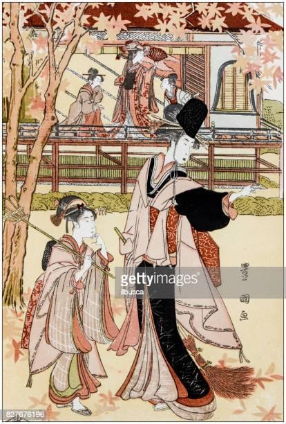 antique japanese illustration: princess' garden party by utagawa toyokuni - only japanese stock illustrations, clip art, cartoons, & icons