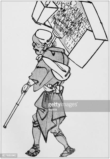 illustrations, cliparts, dessins animés et icônes de antique illustration japonaise: vendeur de rue par chinnen - marchand