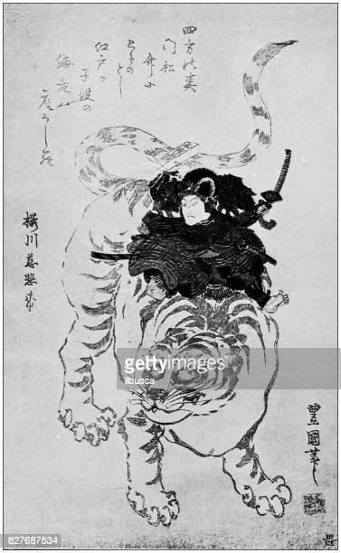 antique japanese illustration: surimono by toyokuni (gosotei) - japanese language stock illustrations