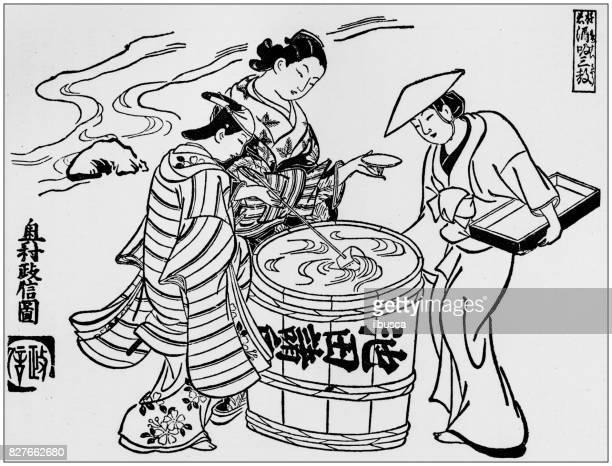 アンティーク日本イラスト: 奥村政信 (1710) によって 3 つ咲テイスティング