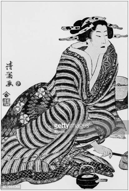 antique japanese illustration: woman by torii kiyomitsu - japanese language stock illustrations