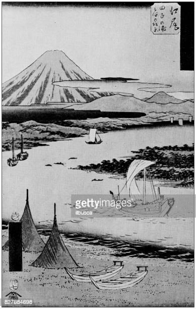 antique japanese illustration: yedo landscape by hiroshige ii - mt. fuji stock illustrations, clip art, cartoons, & icons