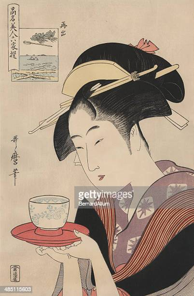stockillustraties, clipart, cartoons en iconen met antique japanese woodblock, woman serving tea - food and drink