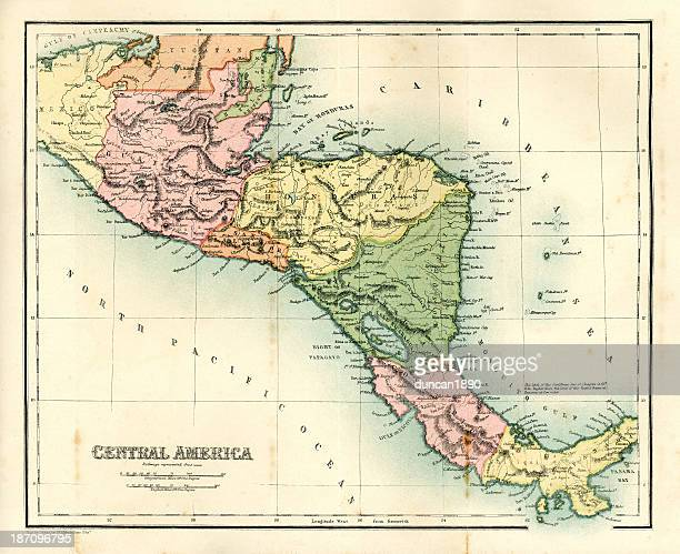 antique map - central america - guatemala stock illustrations, clip art, cartoons, & icons