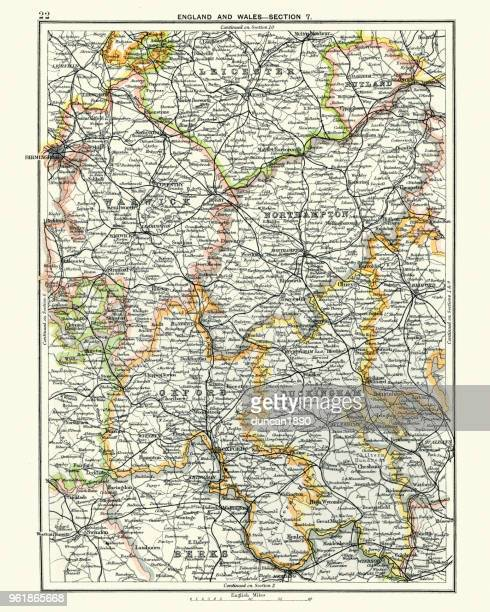 アンティーク マップ、レスター、ワーウィック、ノーサンプトン、オックスフォード、バッキンガム 19 世紀 - バッキンガムシャー点のイラスト素材/クリップアート素材/マンガ素材/アイコン素材