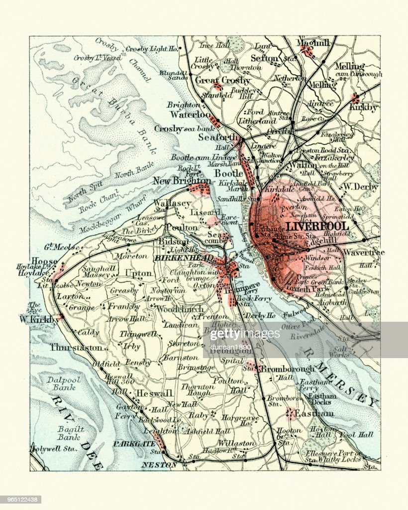 Antique Map Liverpool And Birkenhead England 19th Century ...