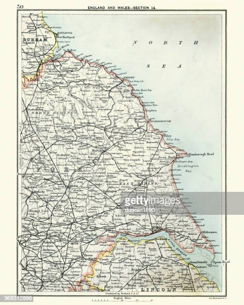 antique map, north and east yorkshire 19th century - northeastern england stock illustrations, clip art, cartoons, & icons