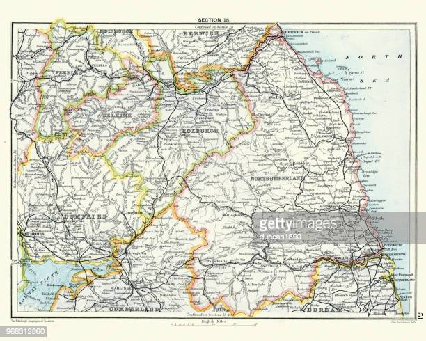 Antique map, Northumberland, Roxburgh, Cumberland 19th Century