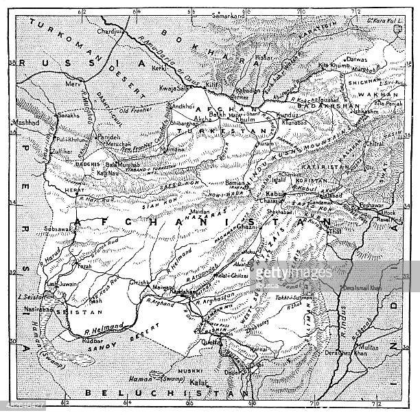 antique map of afghanistan - afghanistan stock illustrations