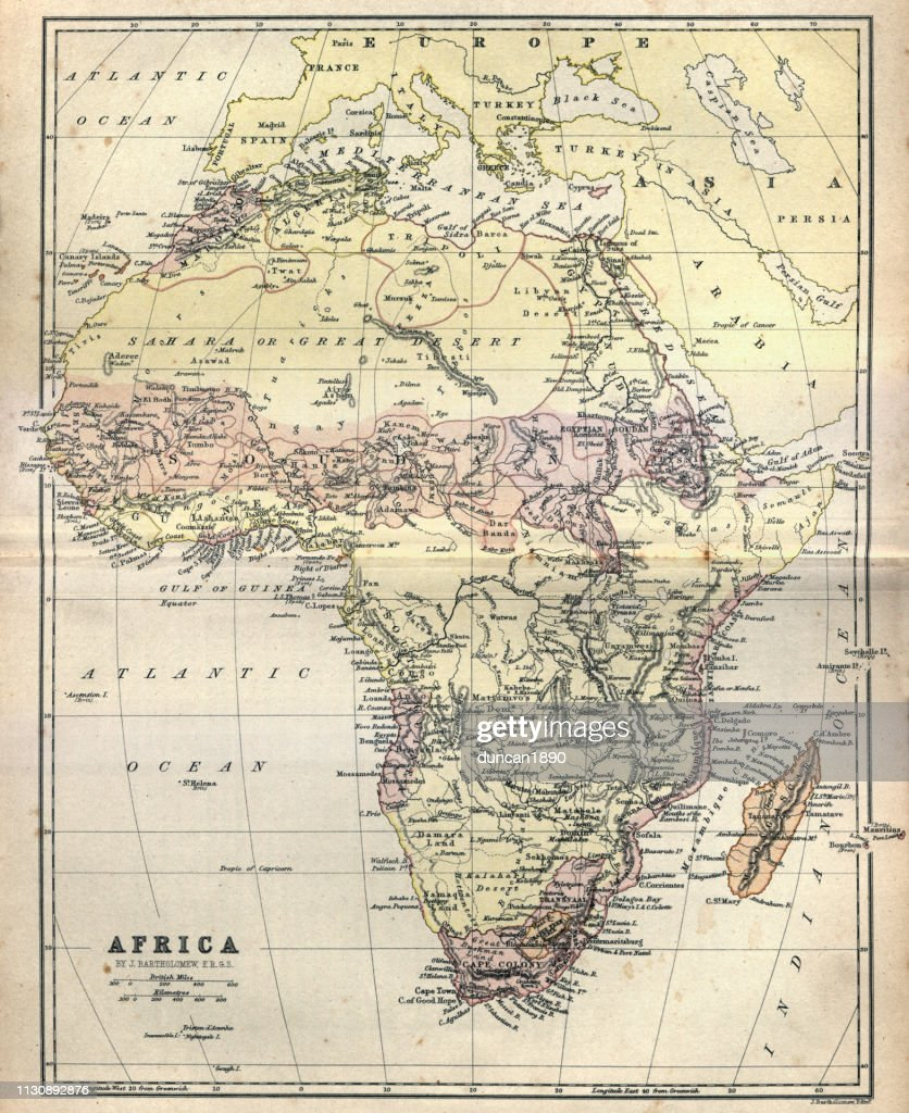 19th Century Africa Map.Antique Map Of Africa 1884 19th Century Stock Illustration Getty