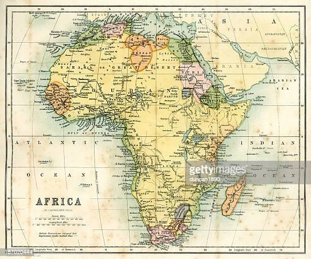 ilustraciones, imágenes clip art, dibujos animados e iconos de stock de antiguo mapa de áfrica - áfrica
