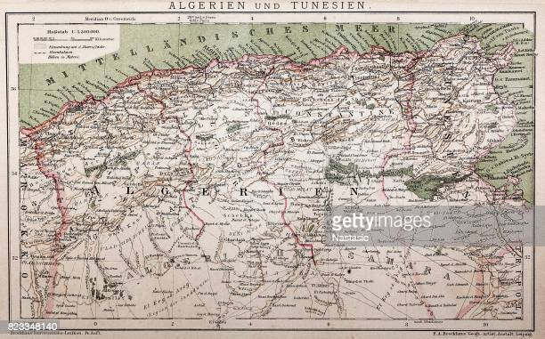 Antique map of Algeria and Tunisia