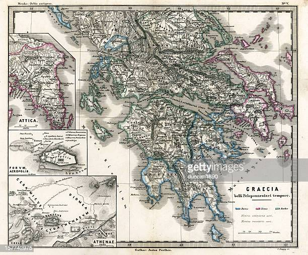 antique map of ancient greece - sparta greece stock illustrations, clip art, cartoons, & icons