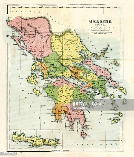antique map of ancient greece - greek islands stock illustrations, clip art, cartoons, & icons