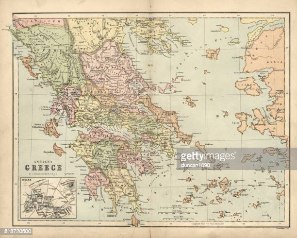 antique map of ancient greece - ancient greece stock illustrations