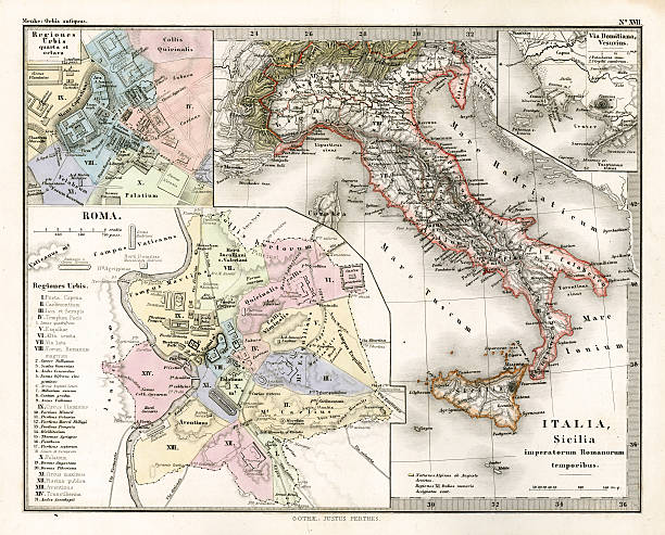 Antique Map Of Ancient Italy Wall Art