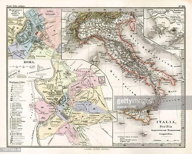 antique map of ancient italy - mt vesuvius stock illustrations, clip art, cartoons, & icons