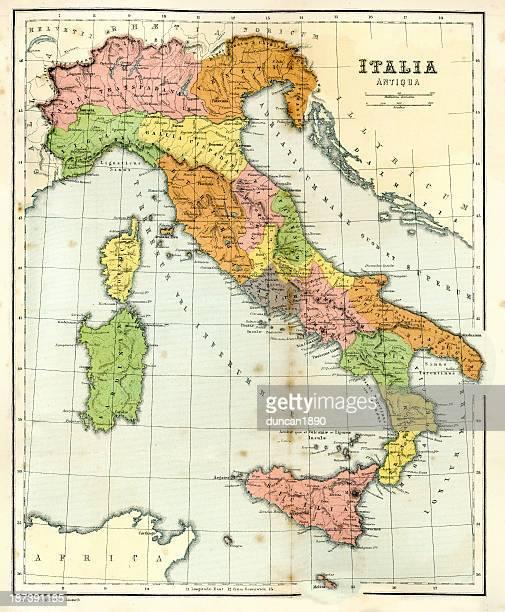 illustrazioni stock, clip art, cartoni animati e icone di tendenza di antica mappa dell'antica italia - antico condizione