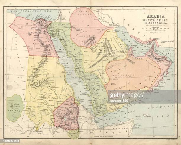 antique map of arabia, egypt, nubia, abyssinia, 19th century - nubia stock illustrations, clip art, cartoons, & icons