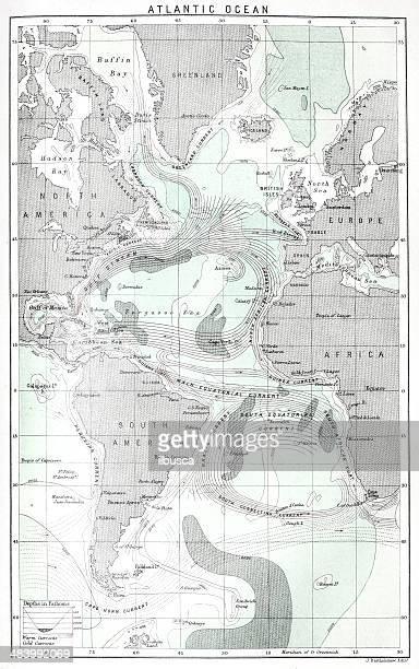 antique map of atlantic ocean currents - tide stock illustrations