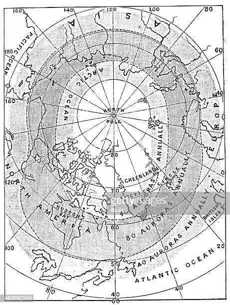 antique map of aurora borealis zones and north pole - aurora borealis stock illustrations
