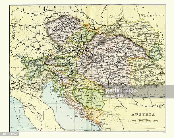 antique map of austria empire late 19th century - hapsburg dynasty stock illustrations