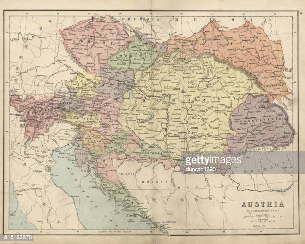 antique map of austria hungary 19th century - central europe stock illustrations, clip art, cartoons, & icons