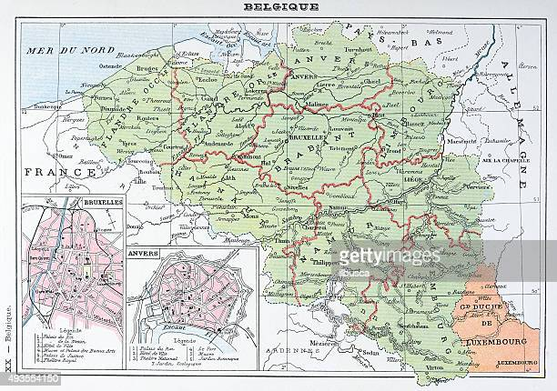 antique map of belgium - antwerp city belgium stock illustrations
